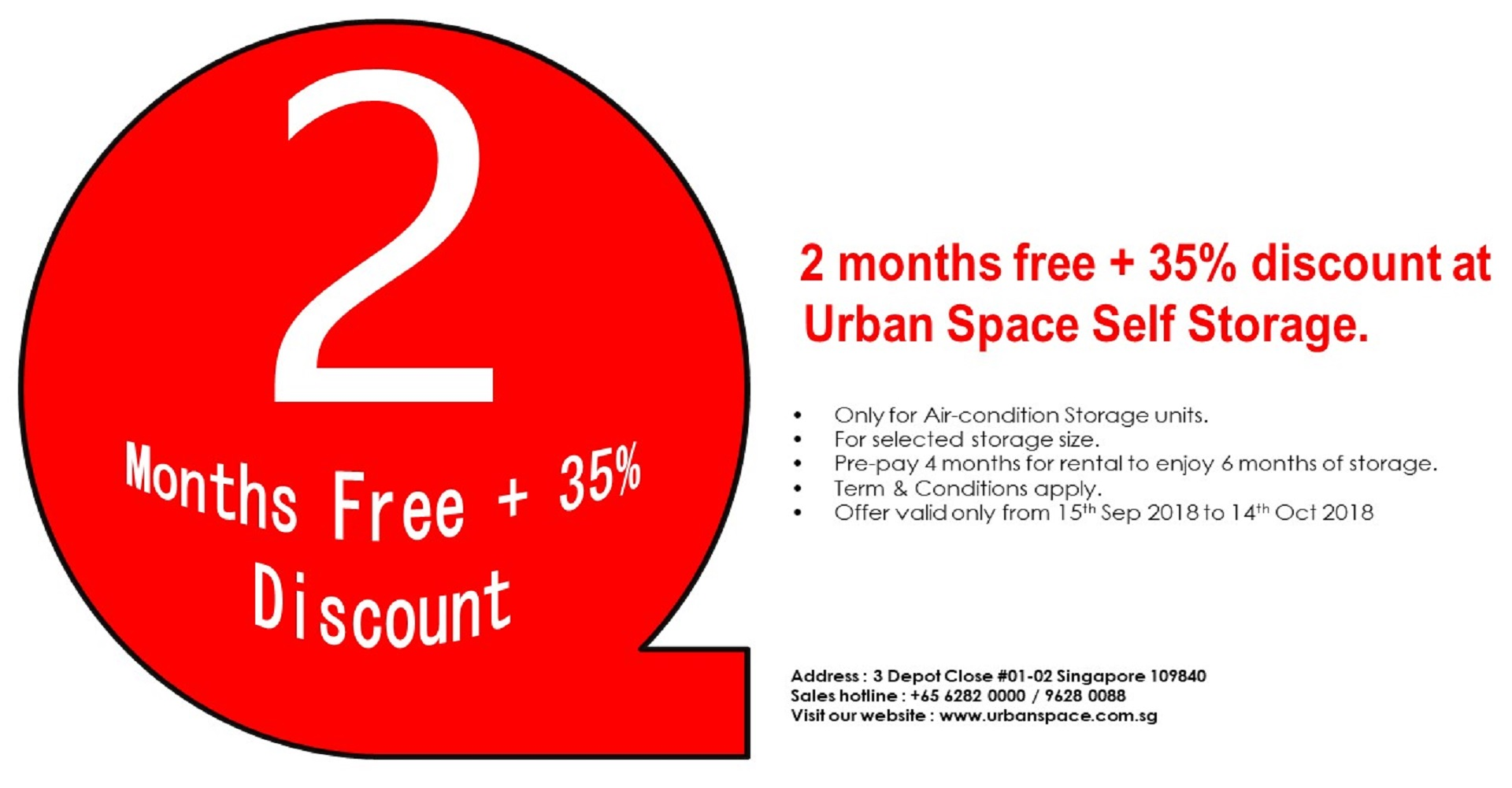 <b>2 months free + 35% discount at  Urban Space Self Storage</b>