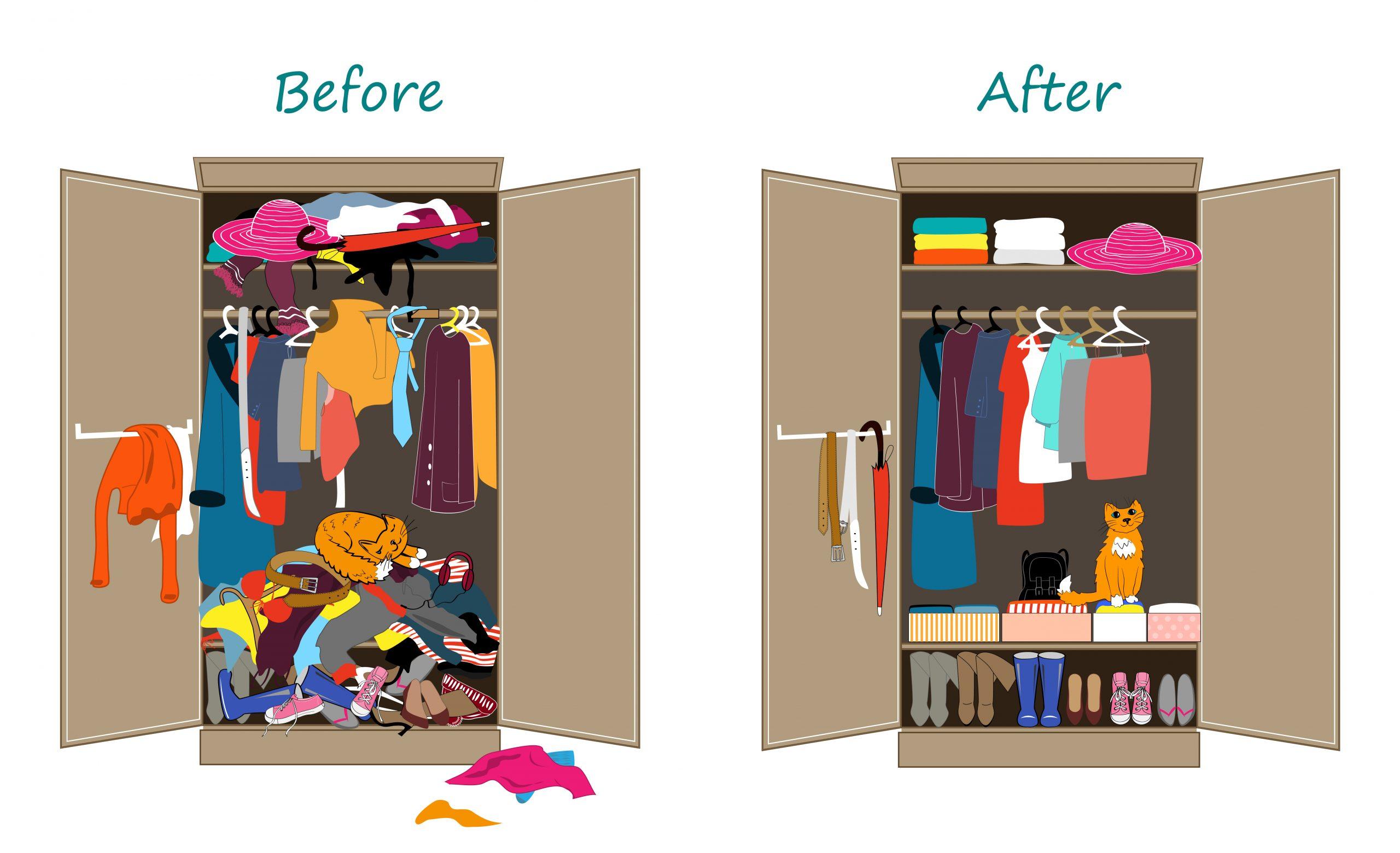decluttering messy wardrobe