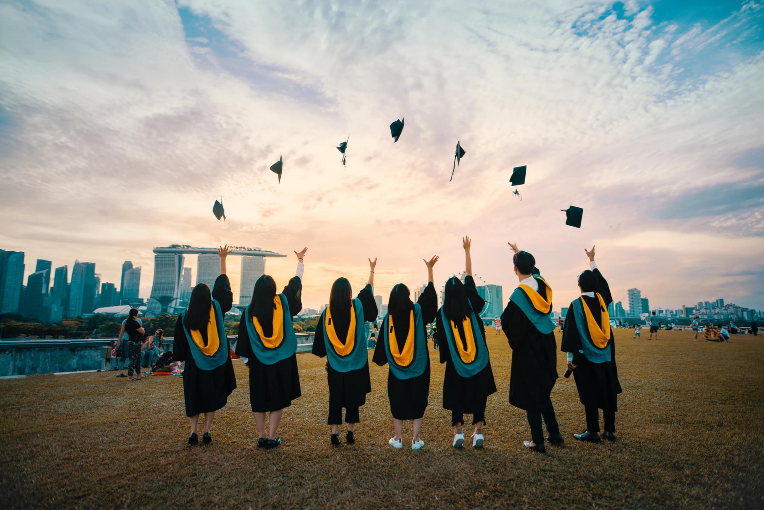 singapore university students graduation sunset background